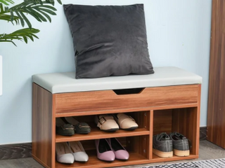 HOMCOM Sturdy Shoe Organizer Storage Bench with 2 Tier Rack for Storing Shoes  Socks with Padded Seat  Brown  Retail 83 99