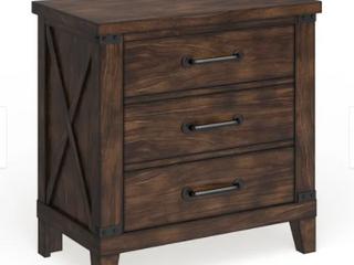 The Gray Barn Epona Rustic Dark Walnut 3 drawer Nightstand  Retail 331 54