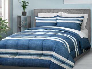 Safdie   Co  Comforter Set 3Pc Dq Blue Stripe Blue Double Queen