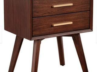 Alpine Furniture Gramercy 2 Drawer Wood Nightstand in Walnut  Brown  Retail 194 99