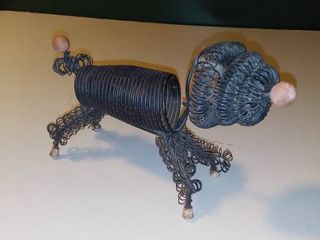 Vintage Wire Poodle letter Holder