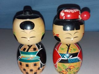 Pair of Vintage Kokeshi Wooden Nodder Dolls