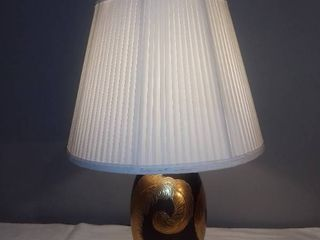Nice Vintage lamp Marble Base With Glass Body Gold Painted Feathers