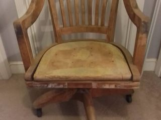 Vintage W H  Gunlocke Wood Rolling Desk Chair