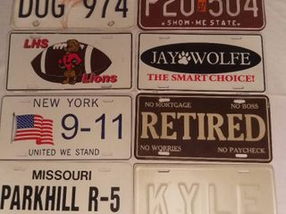 lot of 8 license Plates