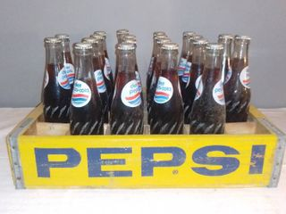Vintage Yellow Wood Pepsi Crate with 20 Bottles of Diet Pepsi
