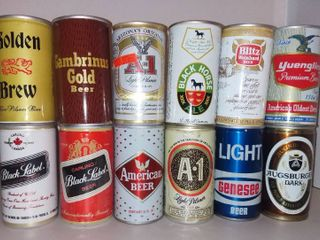 lot of 12 Empty Vintage Beer Cans