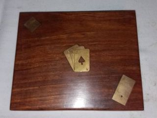 Vintage Wood and Brass Box With Dominos Dice and Playing Cards
