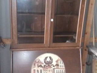 Antique Secretary Bookcase with Italian Canal Scene