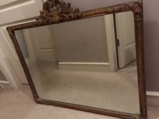 Antique Mirror with Ornate Wood Frame