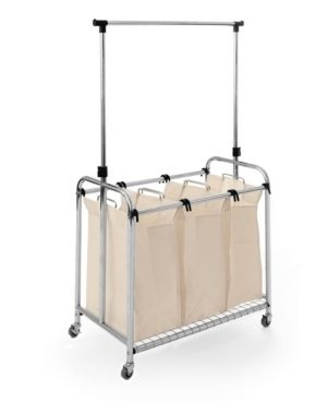 Seville Classics 3 Bag laundry Sorter With Hanging Bar Canvas