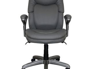 Serta AIR Health and Wellness Executive Office Chair  High Back Big and Tall Ergonomic for lumber Support Task Swivel  Bonded leather  Gray