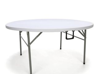 OFM Essentials Collection 60  Round Center Folding Utility Table  in White