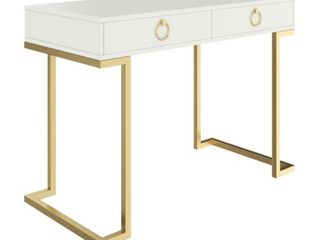 leighton White Two Drawer Modern Desk with Gold legs and Gold Hoop Accent