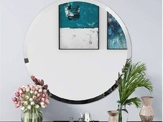 FANYUSHOW Round Beveled Polished Frameless Wall Mirror for Bathroom  Vanity  Bedroom  24  W x 24  H Circle