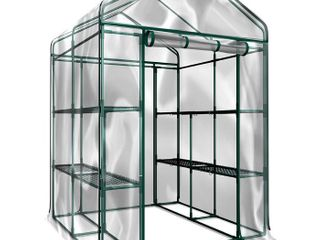 Home Complete HC 4202 Walk In Greenhouse  Indoor Outdoor with 8 Sturdy Shelves Grow Plants  Seedlings  Herbs  or Flowers In Any Season Gardening Rack