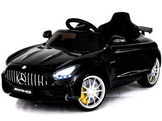 Electric power 12V Mercedes GTR ride on car for Kids with Remote Control Opening doors lED lights MP3   Black  APPEARS USED  POSSIBlY DAMAGED