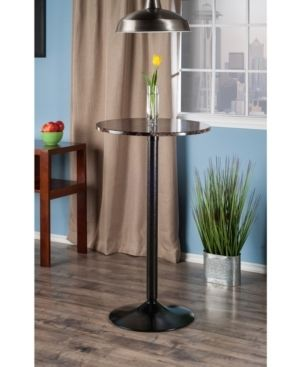 Cora Round Bar High Table Faux Marble Top Metal Black   Winsome