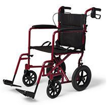 Medline Transport Wheelchair with Brakes  Red
