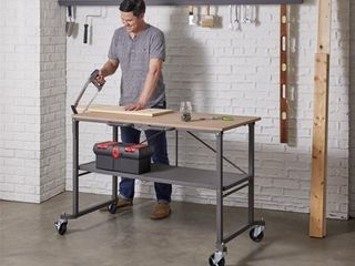 Cosco SmartFold Portable Workbench   Folding Utility Table with locking Casters  51 4  x 26 5  x 34