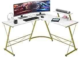 Mr IRONSTONE l Shaped Desk 50 8  Computer Corner Desk  Home Gaming Desk  Office Writing Workstation with large Monitor Stand  Space Saving  Easy to AssembleAA1 4Elaminate MarbleAA1 4a