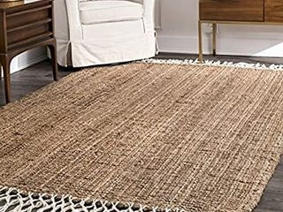 nulOOM Raleigh Hand Woven Wool Area Rug  3  x 5  Natural