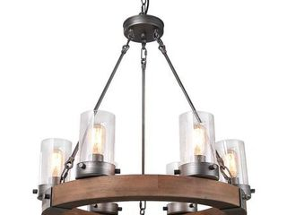 lNC Farmhouse Chandelier Wood Round Wagon Wheel 6 light Fixture with Seeded Glass Shades for Dining   living Room  Bedroom  Kitchen and Foyer  Brown