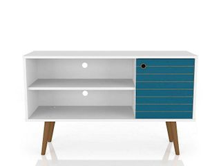 Manhattan Comfort liberty Small Mid Century Modern T Stand  White Aqua Blue  SOME DAMAGE