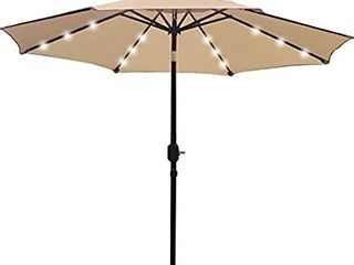 Sunnyglade 9  Solar 24 lED lighted Patio Umbrella with 8 Ribs Tilt Adjustment and Crank lift System  light Tan
