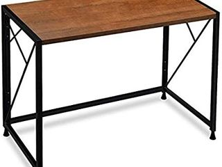 Frylr Folding Computer Desk with Plugs   USB Ports  Home Office Desks Foldable 43 3x19 6x29 5 Inch Study Table for Student Writing Desk for PC laptop  No Installation  Walnut   Black leg