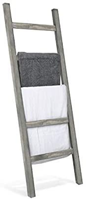 MyGift Wall leaning Rustic Gray Wood ladder Style Blanket Rack
