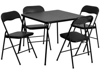 Flash Furniture 4 Piece Folding Card Table and Chair Set  Black