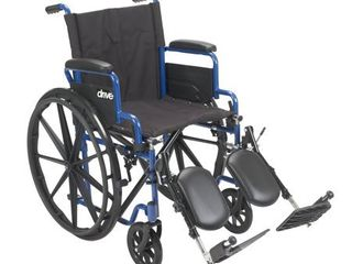 Drive Medical BlS18FBD ElR Blue Streak Wheelchair with Flip Back Desk Arms  Elevating leg Rests  18 Inch Seat