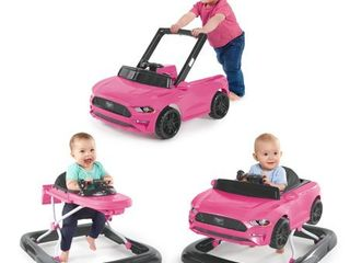 Bright Starts 3 Ways to Play Ford Mustang Baby Walker with Activity Station  Pink