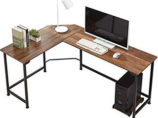 VECElO Modern l Shaped Corner Desk with CPU   laptop PC Holder Study Home Office Work Table Wood   Metal  Dark Walnut   Black leg