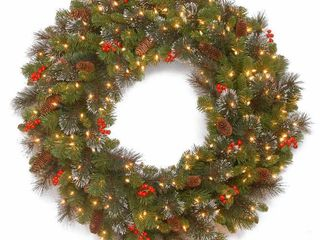 National Tree Crestwood Spruce Wreath with Silver Bristle  12 Cones  Red Berries and Glitter  30 Inch