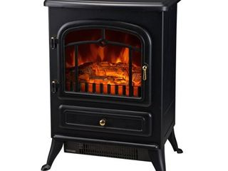 HomCom Compact Freestanding Electric Wood Stove Fireplace Heater With Realistic Flames  Black   Retail 107 49