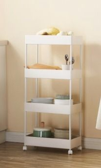 4 Tier Slim Storage Cart Kitchen Bathroom Mobile Shelving with Moving Wheels
