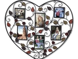 Adeco 6 Opening Decorative Bronze Iron Metal Heart Wall Hanging Collage Photo Frame