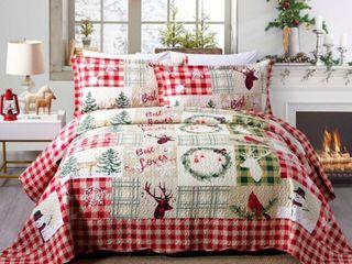 Rustic Patchwork Christmas Quilt Bedspread Queen Set