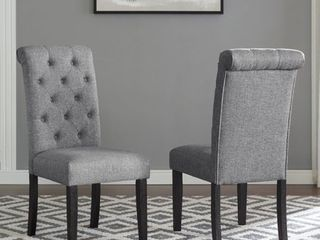 Roundhill leviton Solid Wood Tufted Asons Dining Chair  Set of 2  Grey