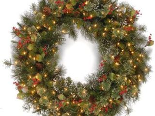 48 inch Wintry Pine Wreath with Clear lights  Retail 163 99