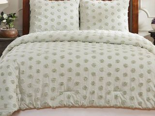 Better Trends Athenia Collection in Polka Dot Design 100  Cotton Tufted Chenille King Comforter  Retail 282 49