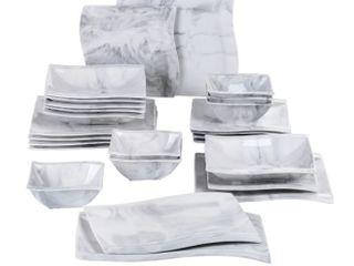 MAlACASA  Series Flora  Marble Ceramic Dinnerware Set for 6  20 Piece  Retail 130 24
