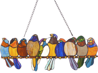 River of Goods Stained Glass Birds on a Wire 9 25 inch Window Panel  Retail 84 49