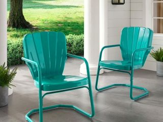 Dublin Bay Turquoise Metal Chairs  Set of 2 by Havenside Home  Retail 117 99