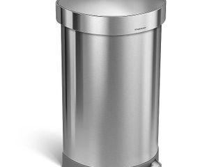 simplehuman 45 liter  12 Gallon Semi Round Step Trash Can  Brushed Stainless Steel