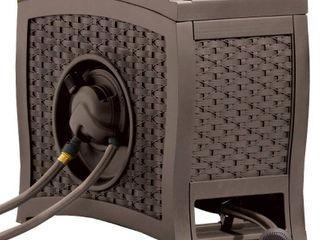 Suncast 125 ft  AquaWinderAr Auto Rewind Resin Free Standing Hose Reel  Java