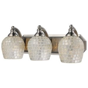 Mix N Match Vanity 3 light Wall lamp in Satin Nickel with Silver Glass