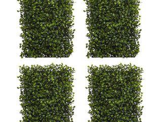 12  x 10  12pk Artificial Boxwood Mat Set Green   Nearly Natural